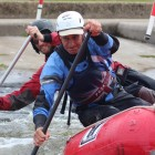 Dad starting raft racing